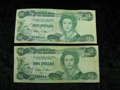 2 old world currency note lot BAHAMAS $1 dollar Police Band P43 1984 FREE S&H