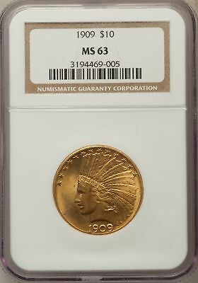 1909 $10 Indian Eagles NGC MS63