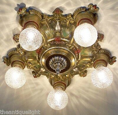 835 Vintage 20s 30s Ceiling Light  fixture art nouveau  chandelier 5 Lights