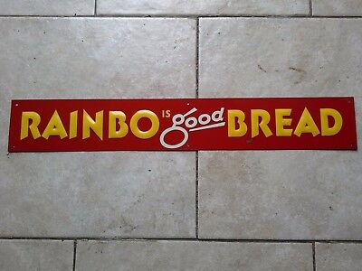 Original 1950s Rainbo Bread Tin Embossed General Store Door Push Farm Food Sign