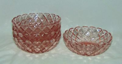 """4 Hocking WATERFORD/WAFFLE PINK *4 3/4"""" BERRY BOWLS*"""