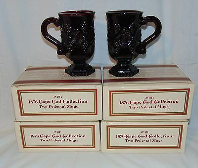 "8 Avon CAPE COD RED *5"" PEDESTAL MUGS w/BOX*"