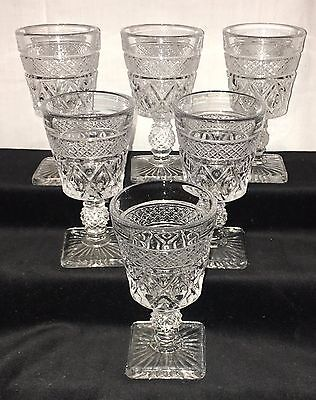 """6 Imperial CAPE COD CRYSTAL*4 1/2"""" WINE GOBLETS*"""