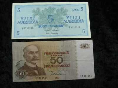 2 old world foreign currency note lot FINLAND 5 & 50 Markka 1963 1977