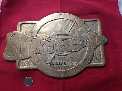 Car club plaque Smokers Bakersfield fuel and gas Famoso drag strip brass