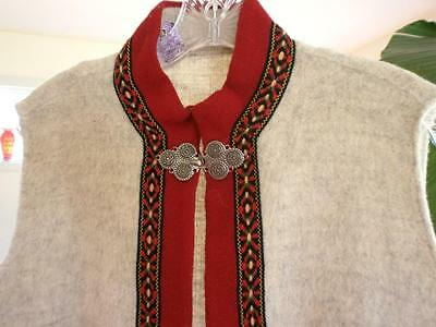 ADULT NORWEGIAN Gray and red WOOL VEST FROM  NORWAY with heavy pewter fasteners