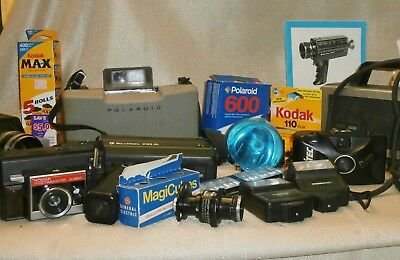 12 Wholesale film cameras + film, flash, to use or for parts probly all work
