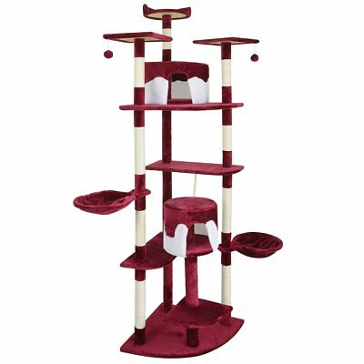 vidaXL Cat Tree Scratching Post 213 cm Red and White Activity Climbing Toy