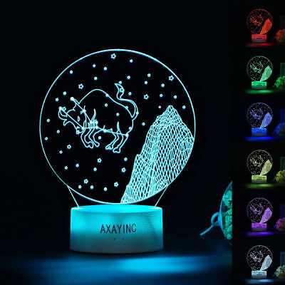 AXAYINC Taurus 3D LED Night light Touch Swift Table Desk Lamp Kids Gift 7 Color