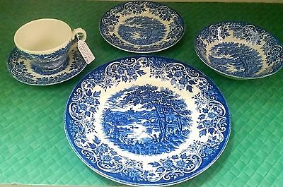 Broadhurst Staffordshire Ironstone ENGLISH SCENE Castle Lake Fishing 20 pc