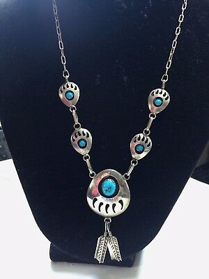 "Navajo Sterling Silver Turquoise Bear Claw Shadow Box Neckalce 22"" Signed M"