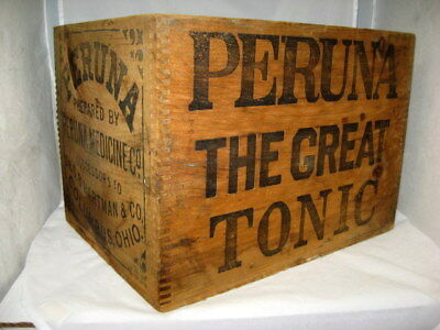 Antique PERUNA Medicine Tonic Wood Advertising Shipping Crate Columbus Dr. Quack