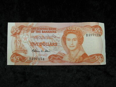 """1 old world foreign currency note lot BAHAMAS $5 DOLLARS P45 1984 """"junkanoo"""""""