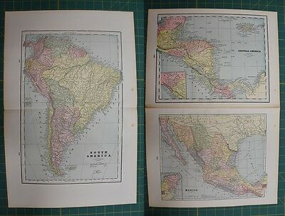 South America Central America Vintage Original 1895 Werner Company Atlas Map Lot
