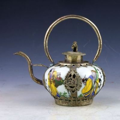 Chinaese retro Decorated Porcelain Armoured & flower Teapot & Monkeys Lid