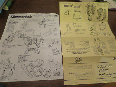 Vintage Johnny West and Thunderbolt Product Flyers English an French Canada Marx