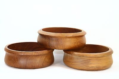 """Lot of 3 Vintage Solid Teak Wood Rice Serving Bowl Dish 6"""" Wide Made in Thailand"""