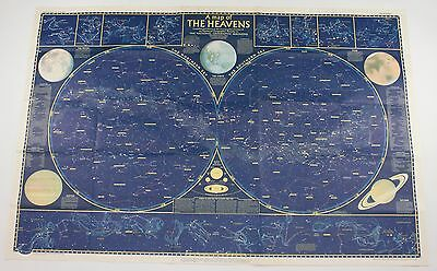 National Geographic Heavens Vintage Double Sided Planetary 1957  Map