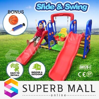 Outdoor Kids Dual Slide and Swing Basketball Play Activity Center Toddler Set