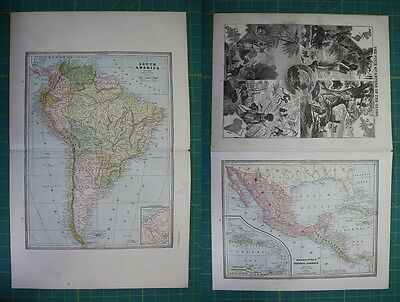 South America Central America Vintage Original 1885 Cram's World Atlas Map Lot