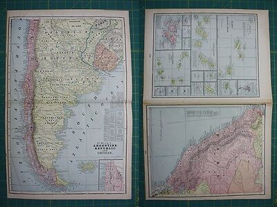 South America Countries Peru Vintage Original 1899 Cram's World Atlas Map Lot