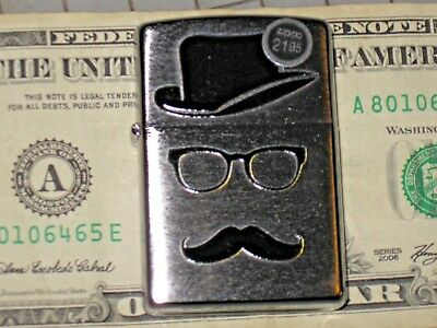 New ZIPPO Windproof USA LIGHTER Moustache Hat & Glasses American Street Chrome