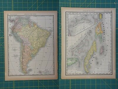 South America West Indies Vintage Original 1894 Rand McNally World Atlas Map Lot