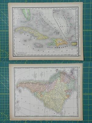 West Indies South America Vintage Original 1894 Rand McNally World Atlas Map Lot