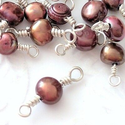 6 x Chocolate Freshwater Pearl Sterling Silver Wire Wrapped Connector Beads (77)