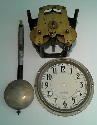*** International Time Recording Clock parts pendulum, dial, movement as seen