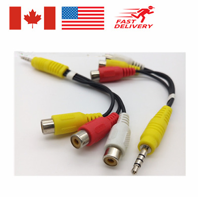 1PC 3.5mm AV Male to 3 RCA Female Audio Video Cable Stereo Jack Adapter Cord