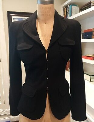 EDWARD ACHOUR PARIS Black Wool Jacket, Sz 40, EUC!