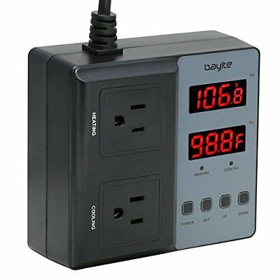 Temperature Controller bayite BTC201 Pre-Wired Digital Outlet Thermostat 2 St...