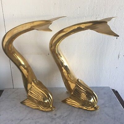 Pair of Large Vintage Mid Century Brass Dolphins Fish Andirons Modern