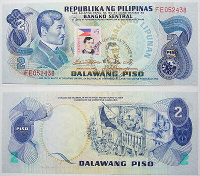 Philippines ABL 2 Peso Note w/ 1999 Rizal Ovpt & Stamp