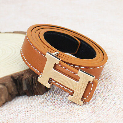 Khaki Fashion Casual Children Faux Leather Adjustable Belts For Boys Girls Gift