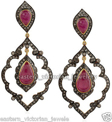 Victorian Inspired 3.19Cts Rose Cut Diamond Ruby Sterling Silver Earring Jewelry
