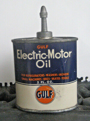 Gulf Electric Motor Oil TIN 2 OZ FOR ELECTRIC MOTOR - 2 OZ TIN EMPTY LEAD TOP