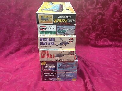 6 Lot Of Vintage 1/72 Model Helicopter Kits-Airfix & MPC