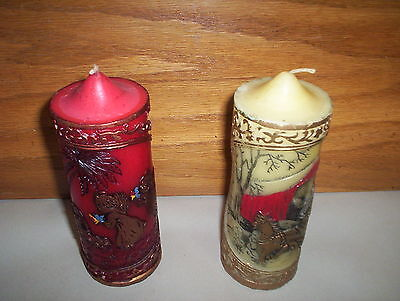 Lot of 2 Vintage JASCO 1978 Hong Kong Christmas Treasures Candles : Handcrafted