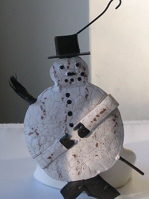 Primitive Country Rustic Christmas Hand Painted Metal Snowman Ornament Gift