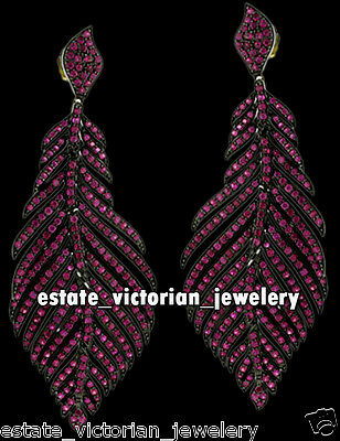 Vintage Victorian Ruby .925 Sterling Silver Feather Danglers Earring Jewelry
