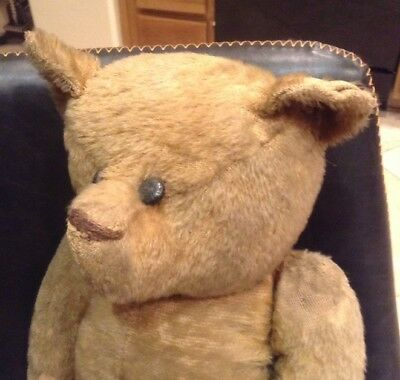 "Antique Mohair, Straw Stuffed Jointed Teddy Bear 21"" Inches Tall N/R"