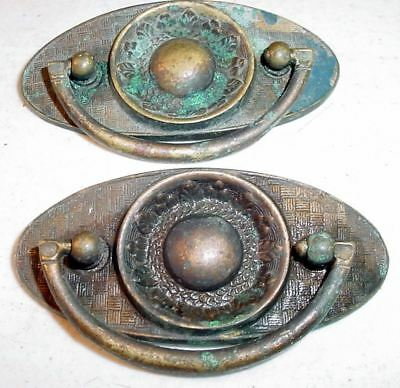 2 Heavy Brass Antique Oval Drop-Handle Metal Drawer Pulls Steel Ribbed Eye