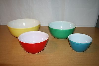 Set of 4 Pyrex Primary Color Mixing Bowls 401 402 403 404