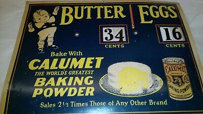 Vintage grocery sign Pasteboard Calumet Baking powder Eggs Butter advertising