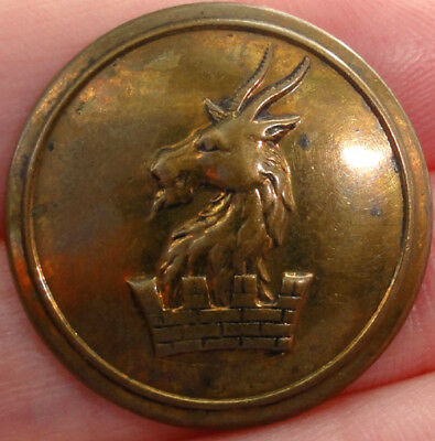 Brass ANTIQUE LIVERY BUTTON ~ CREST of a GOAT HEAD out of a MURAL CROWN ~ FIRMIN