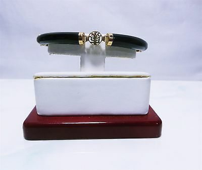 14k Yellow Gold & Black Onyx Chinese Good Fortune - Tube Bracelet  size 7""