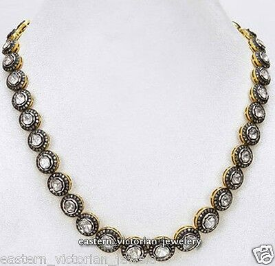 Artdeco 12.18cts Natural Rose Antique Cut Diamond Silver String Necklace Jewelry