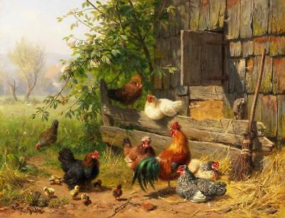 Old Farm Chickens Roosters, Barn by Carl Jutz